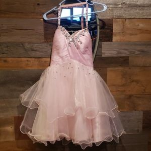 Pink formal dress with corset back.
